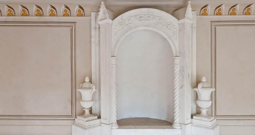 Kaminbekrönung im Marmorsaal – Schlusszustand nach der Restaurierung